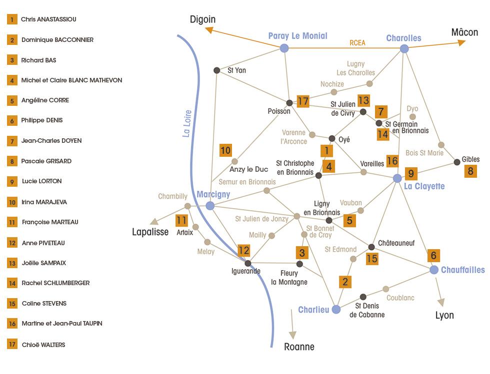 Carte des Artisans en Brionnais