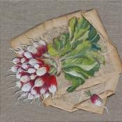P-Grisard-radis-peinture-et-collage-de-papier-ancien